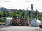 BNSF912 C40-8W at sanding tower in Vancouver yard.